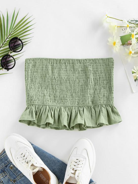 new ZAFUL Smocked Ruffle Crop Bandeau Top - LIGHT GREEN M