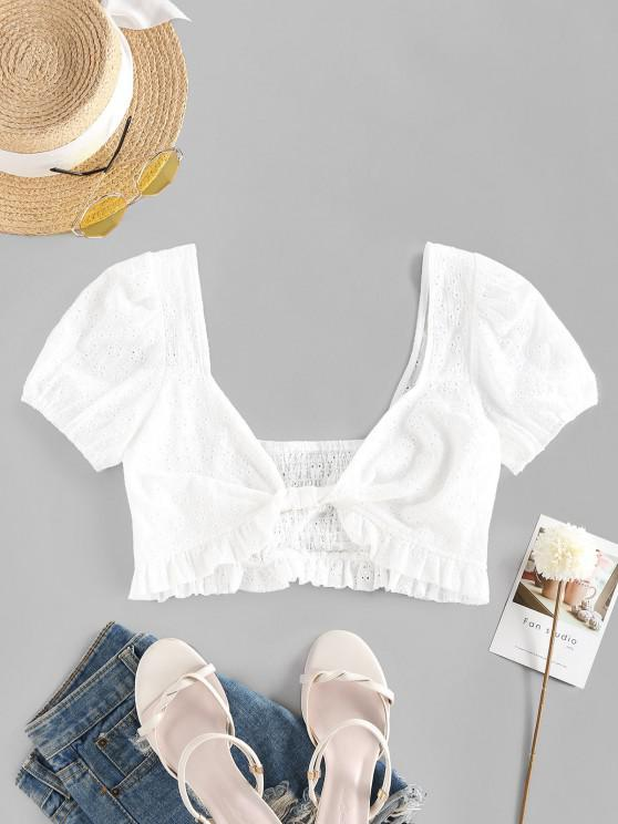 ZAFUL Front Twist Broderie Anglaise Smocked Cropped Blouse - أبيض XL