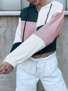 ZAFUL Corduroy Color Block Hooded Zip Jacket - Multi-b L