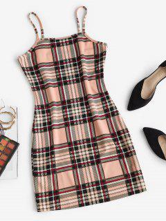 ZAFUL Plaid Bodycon Mini Dress - Light Coffee M