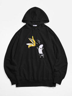 ZAFUL Banana Print Kangaroo Pocket Funny Hoodie - Black 2xl