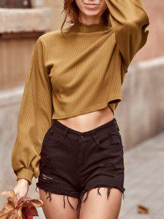 ZAFUL Ribbed Knit Drop Shoulder Short Tee - Camel Brown Xl