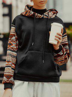 ZAFUL Ethnic Seamless Pattern Drop Shoulder Fleece Lined Hoodie - Black S