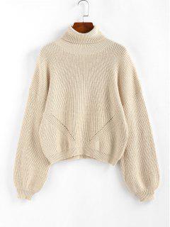 ZAFUL Lantern Sleeve Turtleneck Sweater - Light Yellow S