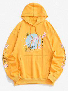 Sakura Buchstabe Grafik Gewaschen Hoodie - Gelb M