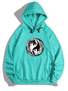 Bagua Wolf Print Kangaroo Pocket Fleece Hoodie - Medium Turquoise M