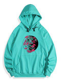 Kangaroo Pocket Dragon Print Fleece Hoodie - Medium Turquoise Xl