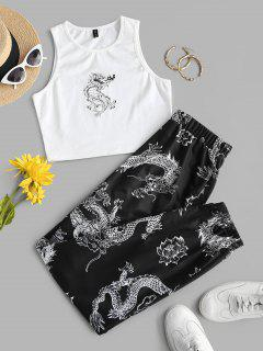ZAFUL Dragon Print Oriental Racerback Egirl Two Piece Pants Set - Multi M