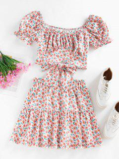 ZAFUL Flower Puff Sleeve Ruffle Tiered Skirt Set - Light Pink M