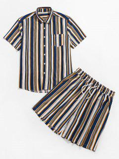 ZAFUL Striped Print Pocket Shirt And Shorts Set - Deep Blue M
