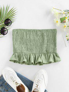 ZAFUL Smocked Ruffle Crop Bandeau Top - Light Green M