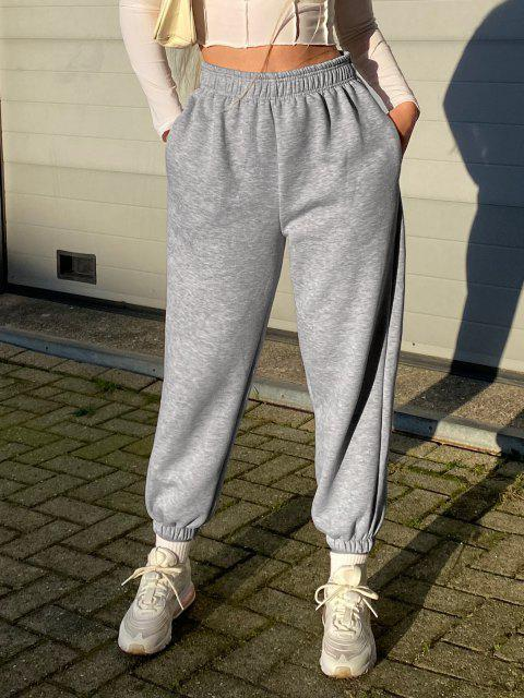 latest Fleece Lined Pocket Beam Feet High Rise Pants - LIGHT GRAY XL Mobile