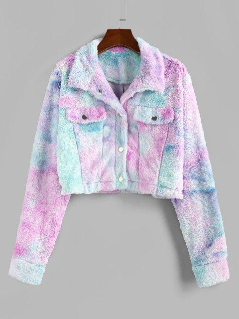 fancy ZAFUL Tie Dye Faux Fur Crop Jacket - MULTI-A S Mobile