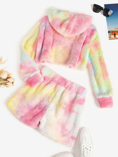 lady Tie Dye Fluffy Faux Fur Hoodie and Shorts Set - MULTI XL Mobile