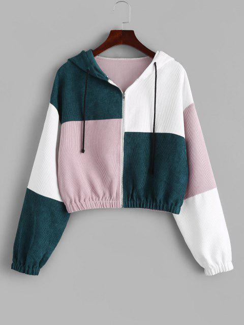 lady ZAFUL Corduroy Color Block Hooded Zip Jacket - MULTI-B S Mobile