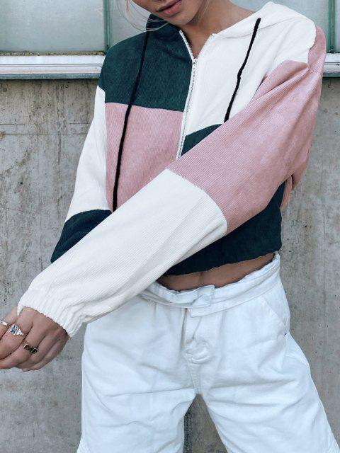 shop ZAFUL Corduroy Color Block Hooded Zip Jacket - MULTI-B M Mobile