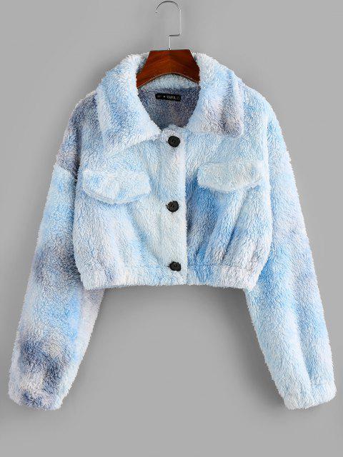 ZAFUL Faux Fur Tie Dye Short Coat - أزرق فاتح S Mobile