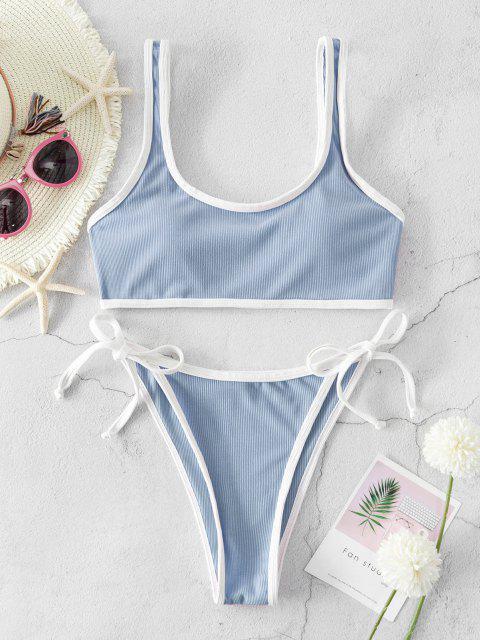shops ZAFUL Ribbed Piping Tie Side Bikini Swimsuit - LIGHT BLUE M Mobile