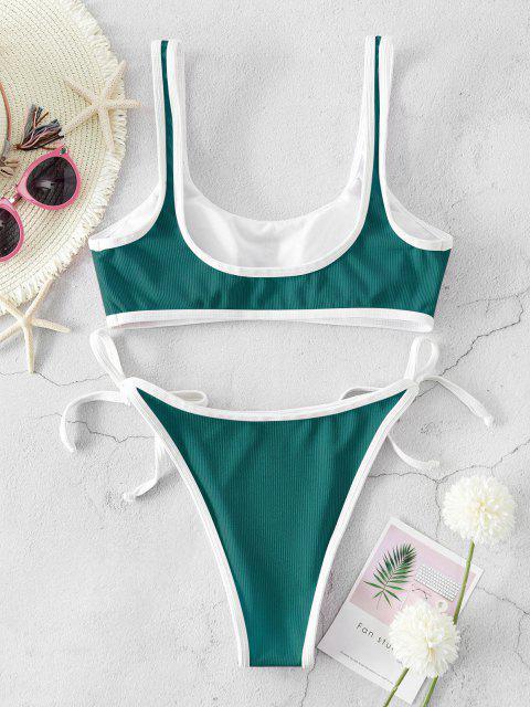 Costume da Bagno Bikini a Coste con Lacci Laterali di ZAFUL - Blu Verdastro S Mobile