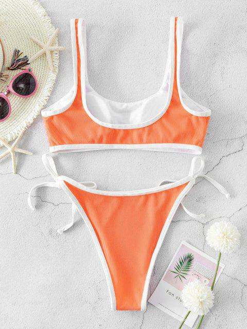 new ZAFUL Ribbed Piping Tie Side Bikini Swimsuit - DARK ORANGE S Mobile