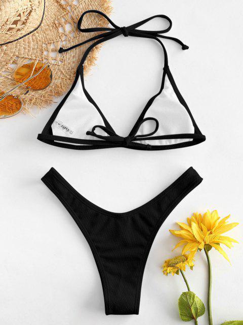 womens ZAFUL Ribbed High Leg Bikini Set - BLACK S Mobile