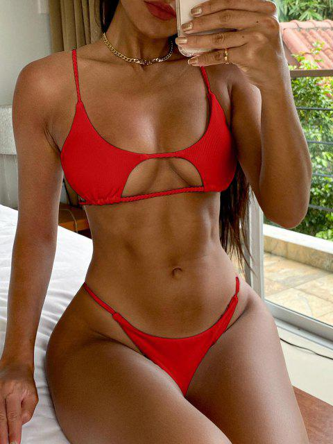 outfits ZAFUL Ribbed Braided Cut Out Bikini Set - RED L Mobile