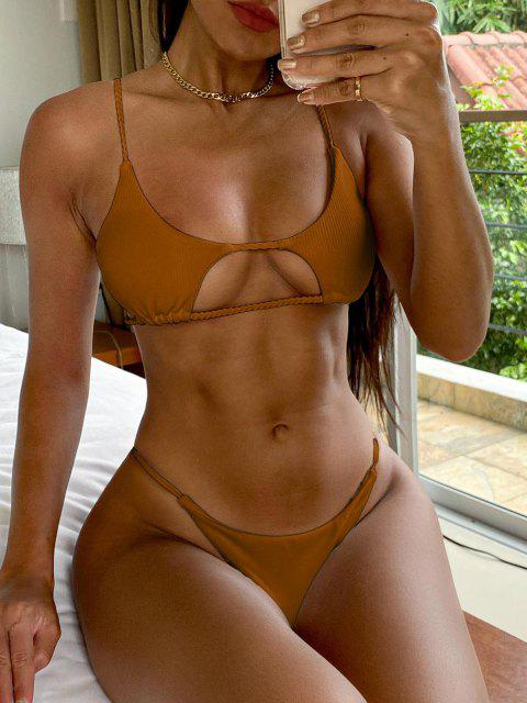 women's ZAFUL Ribbed Braided Cut Out Bikini Set - TIGER ORANGE M Mobile