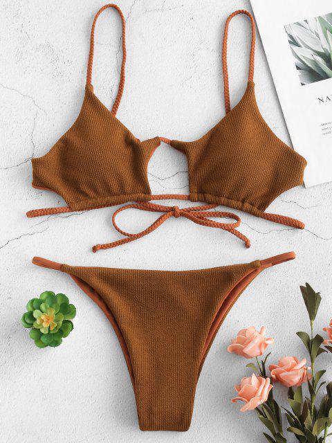 ZAFUL Ensemble Bikini Découpé Tressé Côtelé - Orange Tigre S Mobile