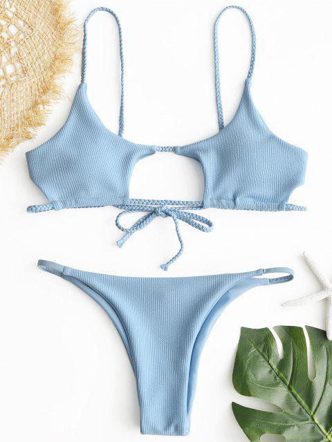 womens ZAFUL Ribbed Braided Cut Out Bikini Set - LIGHT BLUE M Mobile