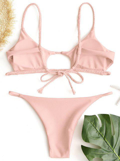 hot ZAFUL Ribbed Braided Cut Out Bikini Set - PINK S Mobile