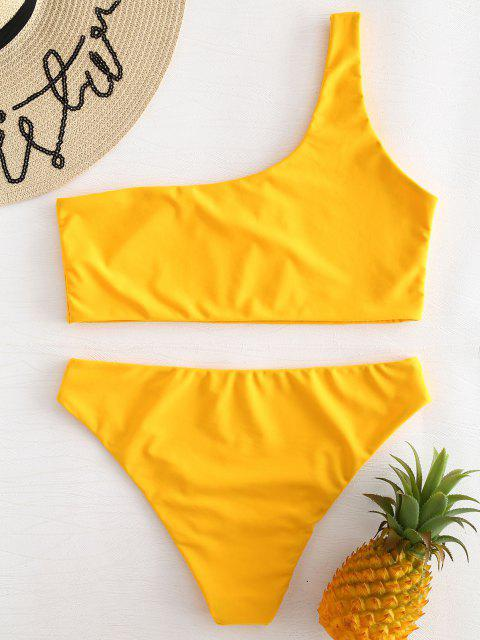 womens One Shoulder Bikini Set - RUBBER DUCKY YELLOW S Mobile