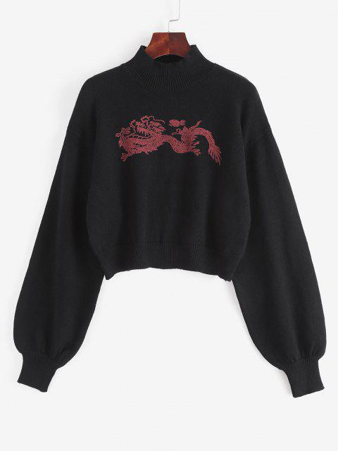 new Mock Neck Oriental Dragon Graphic Sweater - BLACK ONE SIZE Mobile