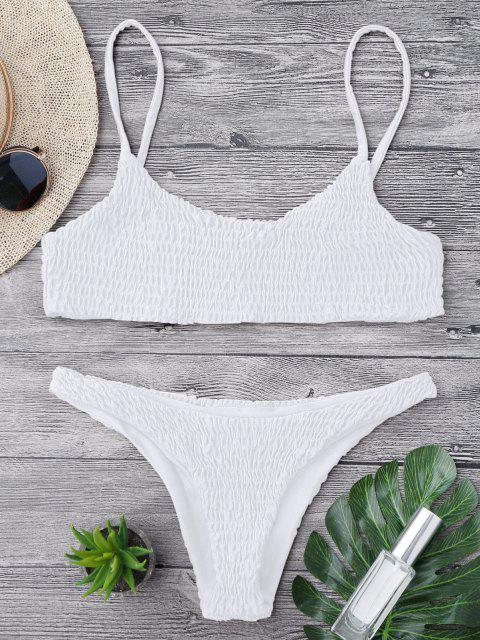 outfits Smocked Bikini Top and Bottoms - WHITE L Mobile
