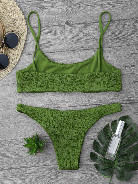 Haut et Bas de Bikini Plissé - Herbe Verte L Mobile
