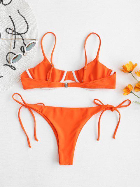 ladies ZAFUL Tie Underwire Balconette Bikini Set - HALLOWEEN ORANGE S Mobile