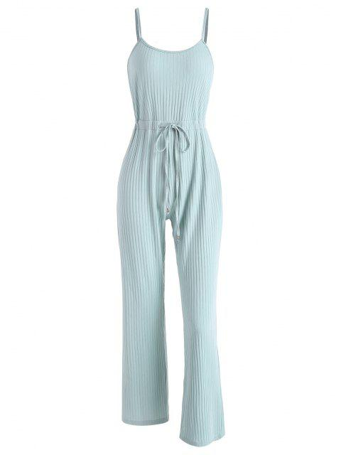 outfits Ribbed Drawstring Waist Wide Leg Jumpsuit - LIGHT GREEN S Mobile