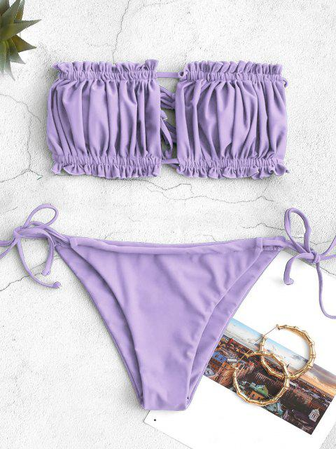 unique ZAFUL Ruffle Tie Side Low Waisted Bandeau Bikini Swimsuit - LIGHT PURPLE S Mobile