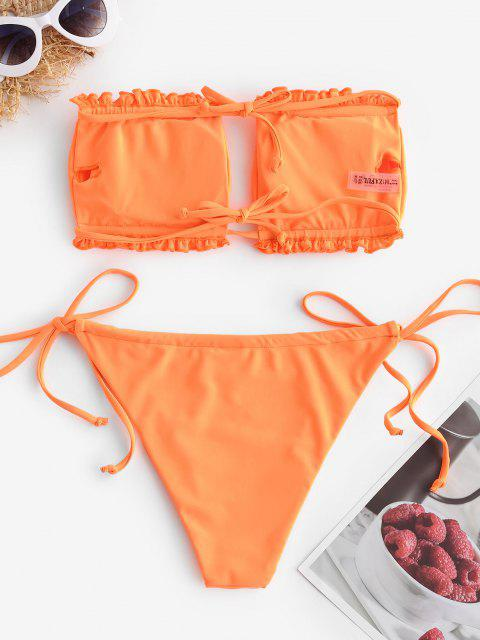 women's ZAFUL Ruffle Tie Side Low Waisted Bandeau Bikini Swimsuit - ORANGE S Mobile