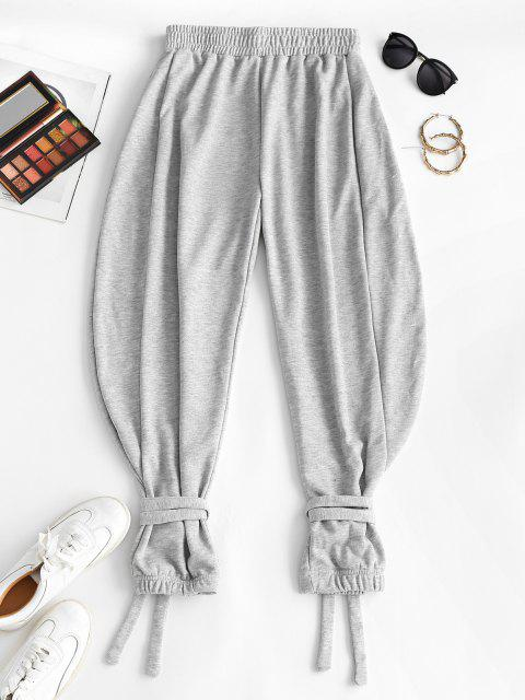 chic Tie Cuffs French Terry Baggy Sweatpants - GRAY L Mobile