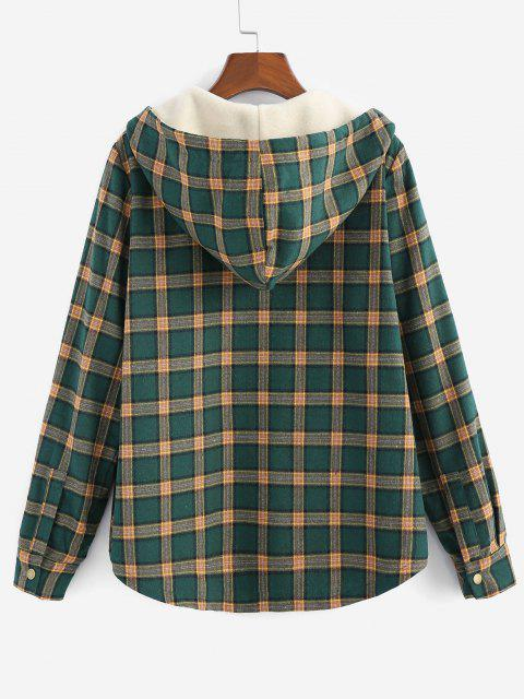 women's ZAFUL Plaid Hooded Fluffy Lined Snap Button Jacket - MULTI S Mobile