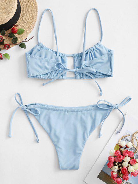 shop ZAFUL Ruched Tie Side Bikini Swimsuit - LIGHT SKY BLUE S Mobile