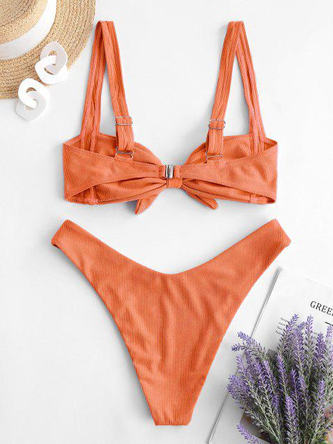 chic ZAFUL Pleated High Cut Ribbed Bikini Swimwear - ORANGE S Mobile