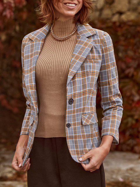 shop Lapel Flap Detail Plaid Blazer - GRAY L Mobile