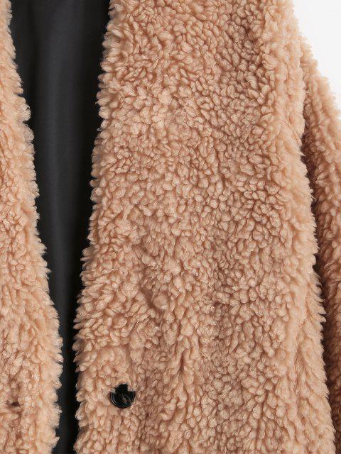 trendy One Button Pocket Longline Teddy Coat - LIGHT COFFEE L Mobile