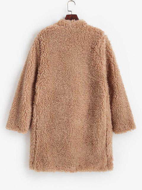 One Button Pocket Longline Teddy Coat - القهوة الخفيفة L Mobile