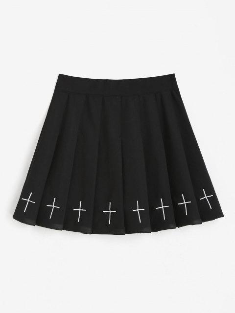 latest Cross Embroidered Mini Pleated Skirt - BLACK XL Mobile