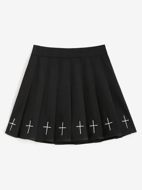 chic Cross Embroidered Mini Pleated Skirt - BLACK 2XL Mobile