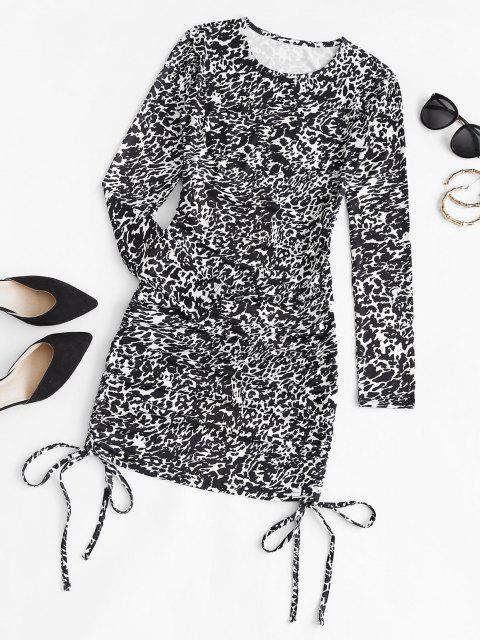 online Leopard Cinched Side Bodycon Dress - BLACK L Mobile