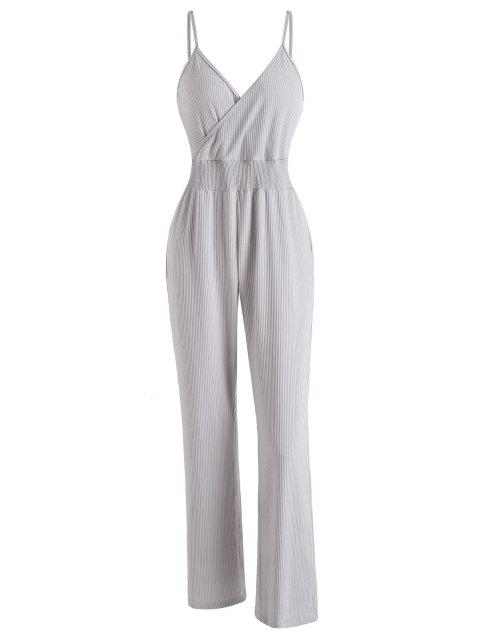 hot Ribbed Surplice Cami Lounge Sleep Jumpsuit - LIGHT GRAY M Mobile