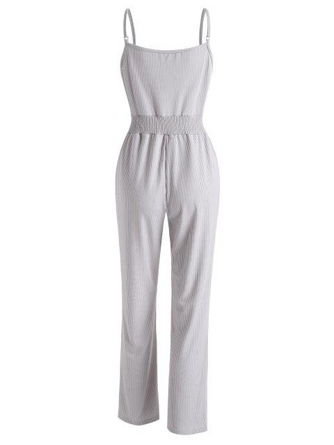 buy Ribbed Surplice Cami Lounge Sleep Jumpsuit - LIGHT GRAY L Mobile